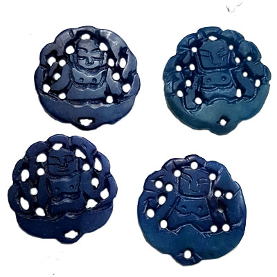 JADE SMALL PENDANT BUDDHA 27MM BLUE (4 PCS)